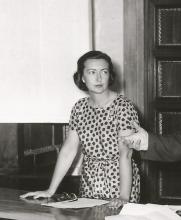 Michela Schiff Giorgini in occasione della presentazione del documentario sugli Scavi di Soleb (1961)