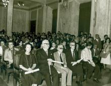 Michela Schiff Giorgini in occasione del conferimento del diploma di Benemerito della scuola e della cultura (1976; Foto Frassi)